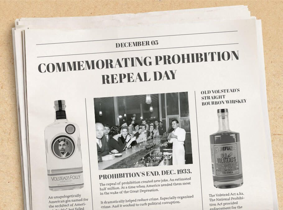 The Repeal of Prohibition happened on December 5th, 1933, a day celebrated every year by craft spirit fans. But what led to the repeal, which amendment repealed prohibition, and what does repeal day represent?
