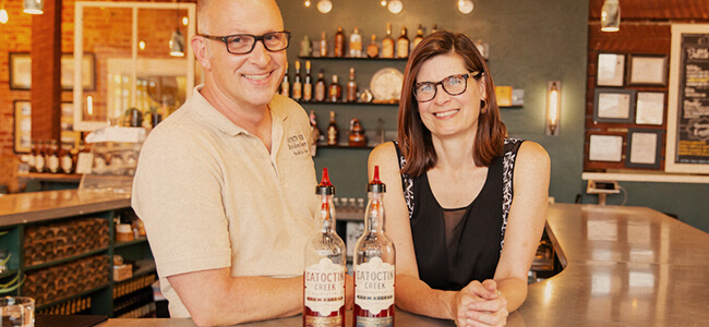 Becky and Scott Harris of Catoctin Creek Distilling Co.