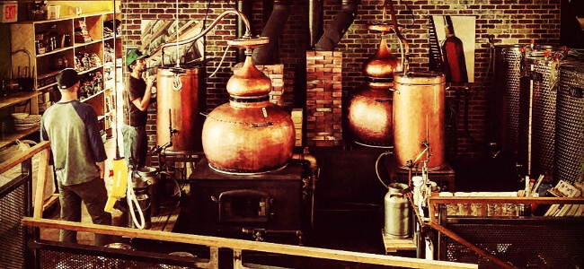 Copper stills at Montanya Distillers.