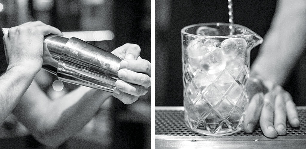 Side by side images of a cocktail shaker and a mixing glass filled with ice.