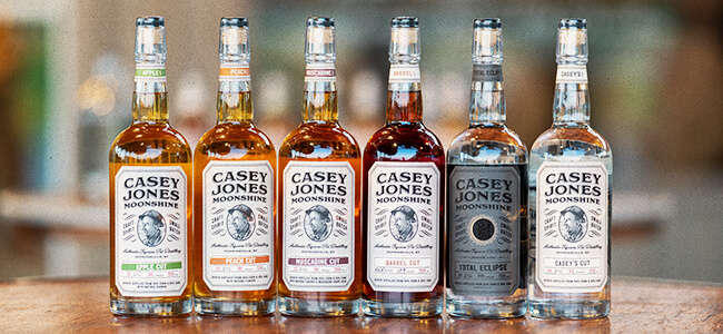The range of moonshines available from Casey Jones Distillery.